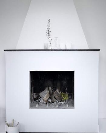 Belle cheminée blanche contemporaine - FactoryChic