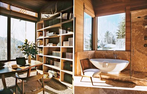 Beau bureau en bois - Fauteuil rétro en bois et tissu