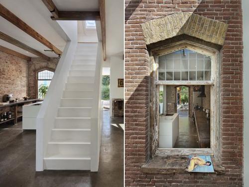 une vieille fenêtre et un escalier contemporain
